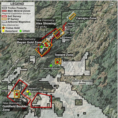 Three New Mineralized Zones Discovered at Quebec Asset